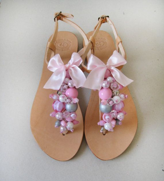 Sandals decorated with beautiful grey pink clear and por MyMarmade, €42.00