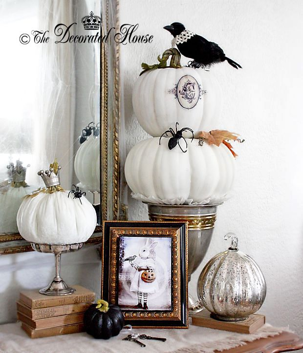 add some whimsical and elegant fun to your halloween decorating using black and white with mercury