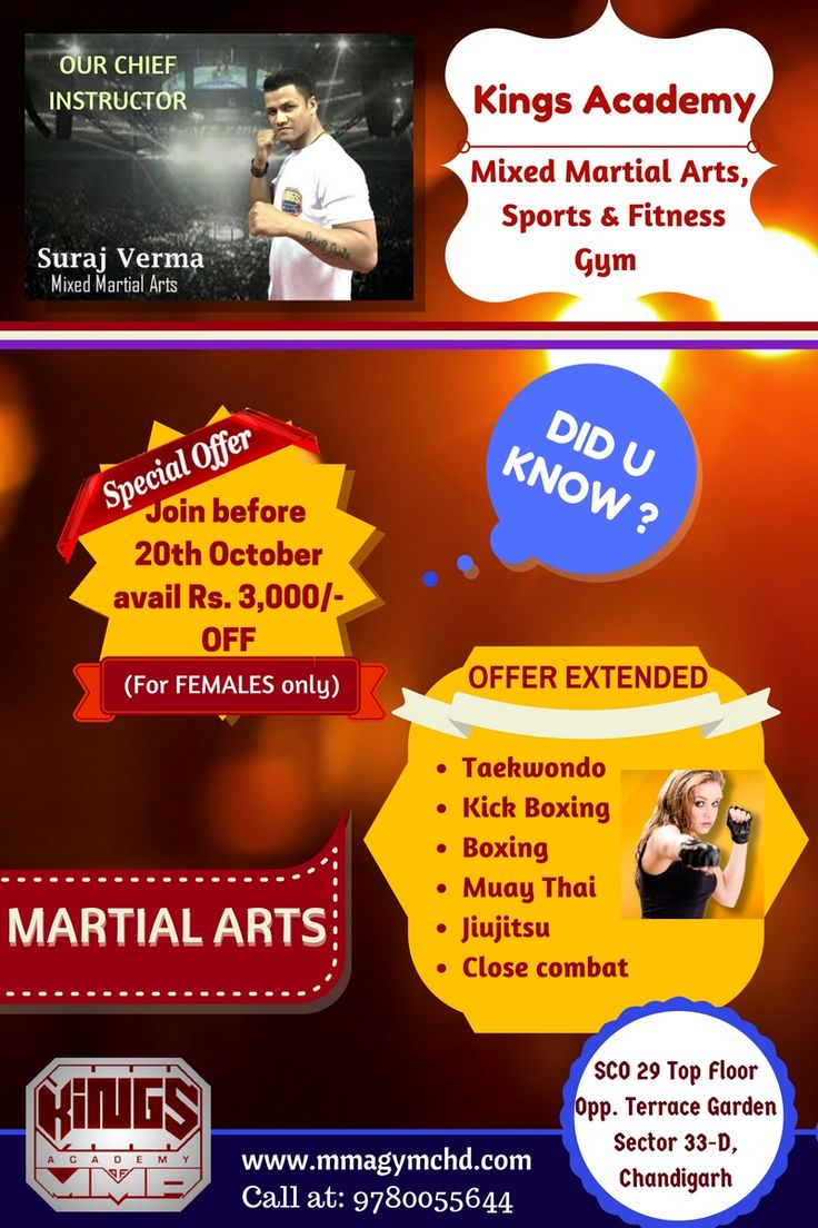 Our #festiveoffer is still on! A great chance for females to learn #martialarts. Stay fit and healthy. RUSH! Limited Time Offer till 20th October. Avail Rs 3000/- Off for every #mixedmartialarts course. #KingsAcademyChandigarh. For more information visit our website: http://mmagymchd.com/