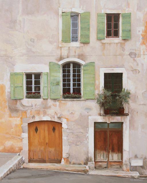 French Windows - Provence, 102x82cm, Oil on Italian Linen - Rick Everingham