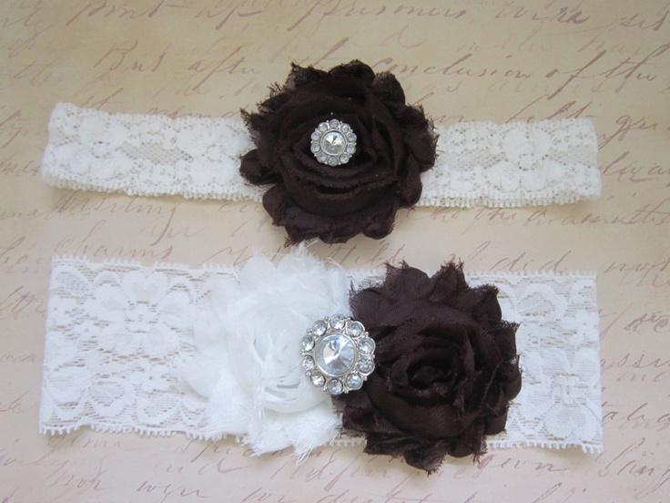 Brown White Wedding Garter Set