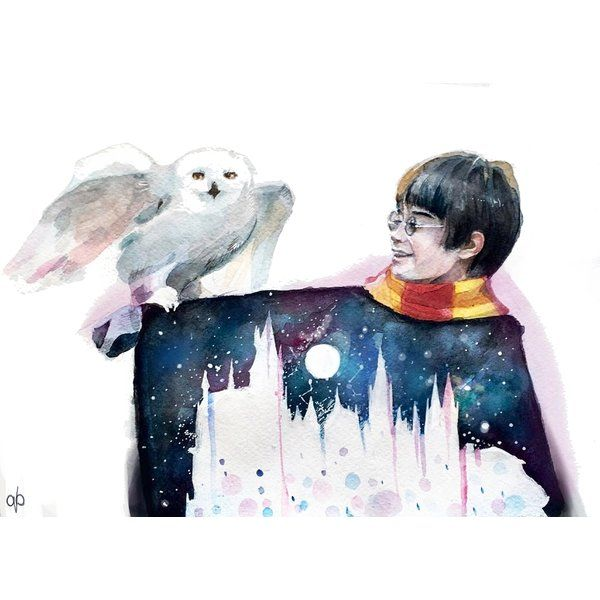 'Harry and Hedwig' Framed Graphic Art Print on Wood