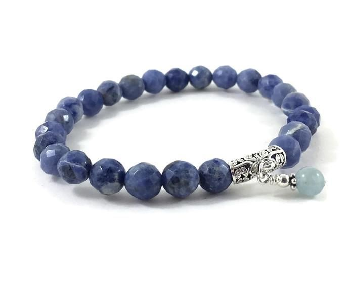 Blue Sodalites and Serenity Aquamarine Butterfly Charm Bracelet
