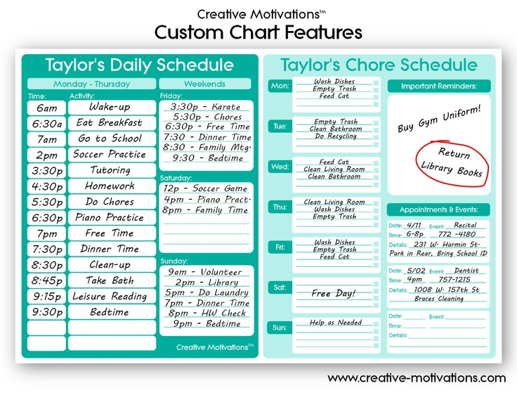 schedule chart for kids - Dolapmagnetband