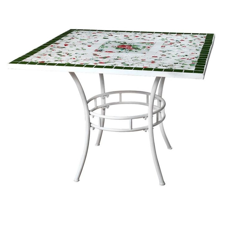 Tavolo metallo mosaico rose 100x100xh75 cm  Art.041035