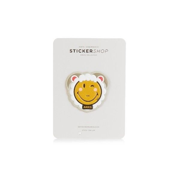 Anya Hindmarch Aries zodiac small sticker ($22) ❤ liked on Polyvore featuring home, home decor, office accessories, dark yellow, emoji signs, leather stickers, zodiac signs, star signs and astrology star signs