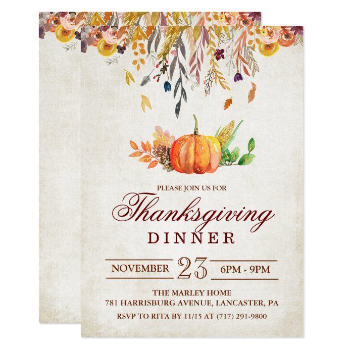 Rustic Pumpkin Fall Thanksgiving Dinner Invitation Zazzle Com In 2020 Thanksgiving Invitation Thanksgiving Dinner Invitation Friendsgiving Dinner Invitation