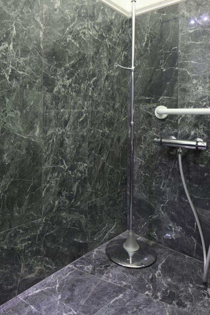 #ceramichecaesar #2015 #hotel Kraft #Florence #Anima series #GreySt.Laurent 30x60 cm 60x60 cm #bathroom #indoor #marble