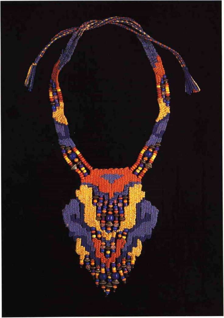 125. Pendant necklace. Arrange light, medium and dark colors to emphasize the various shapes. The support is woven with tie ends to allow adjustable length. Necklace by Helen Banes.
