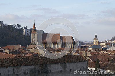 Black Church Biserica Neagra and the panorama of Brasov, Romania