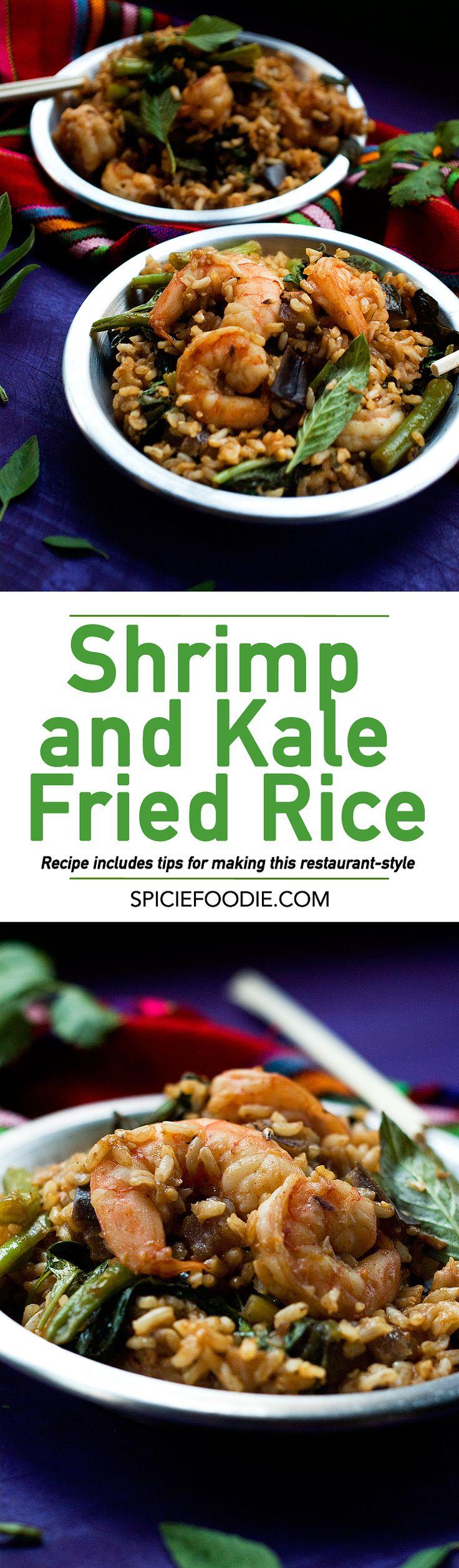 Restaurant Style #Sriracha Spiced #Shrimp and #Kale Fried Rice