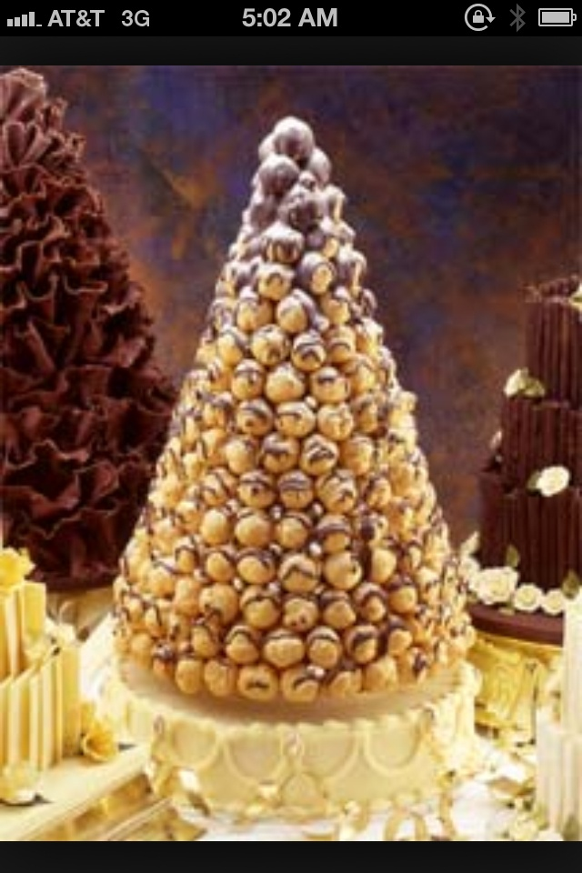 French wedding cake Aka: chocolate cream puff tower ...