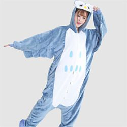 Kigurumi Pigiama Fantasia Gufo Calzamaglia/Pigiama intero Halloween Sleepwear Animal Bianco / Blu Collage Flanella Kigurumi Unisex