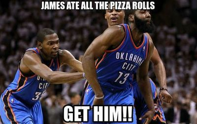 Kevin Durant James Harden Pizza Roll Meme 2