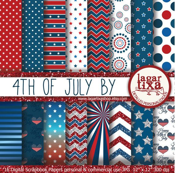Backgrounds America Independence Day 4th of July Patriotic Digital Paper Stars and Stripes red glitter scrapbooking invitations patterns