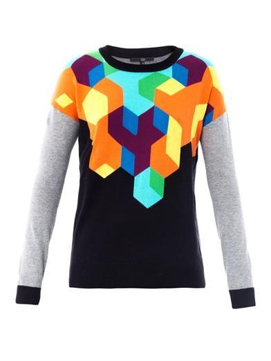 Geometric intarsia-knit sweater | Tibi | MATCHESFASHION.COM