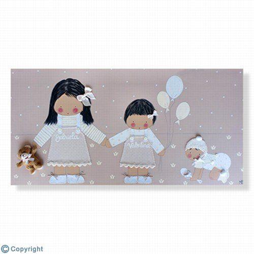 Cuadro infantil personalizado: Bebé con sus hermanitas (ref. 12041-01)
