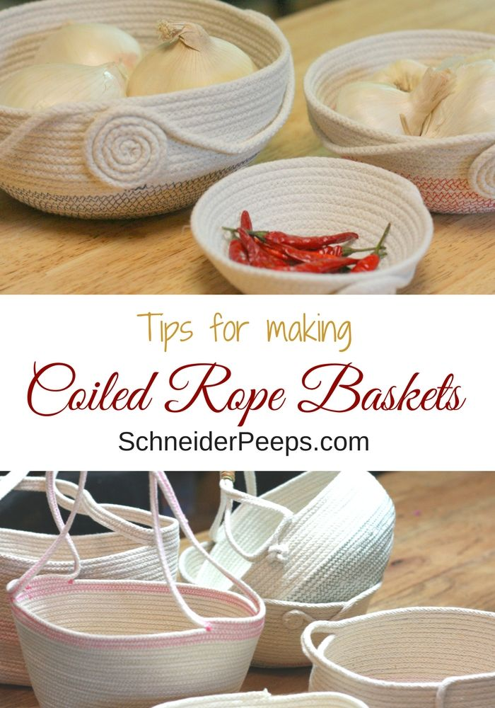 Want to spruce up your home? Learn to make these coiled rope baskets with cotton rope and a sewing machine.