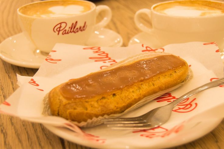 Salted Caramel Eclair at Paillard bakery in Quebec City. Click on pin to read more about must-try foods in Quebec.