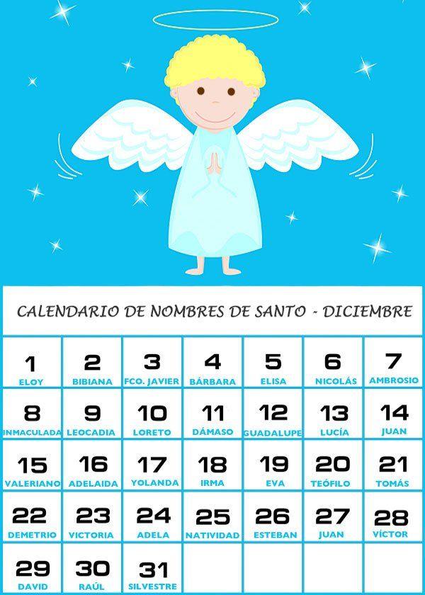 Calendario De Los Nombres De Santos De Diciembre Santos Calendario Calendario Nombres