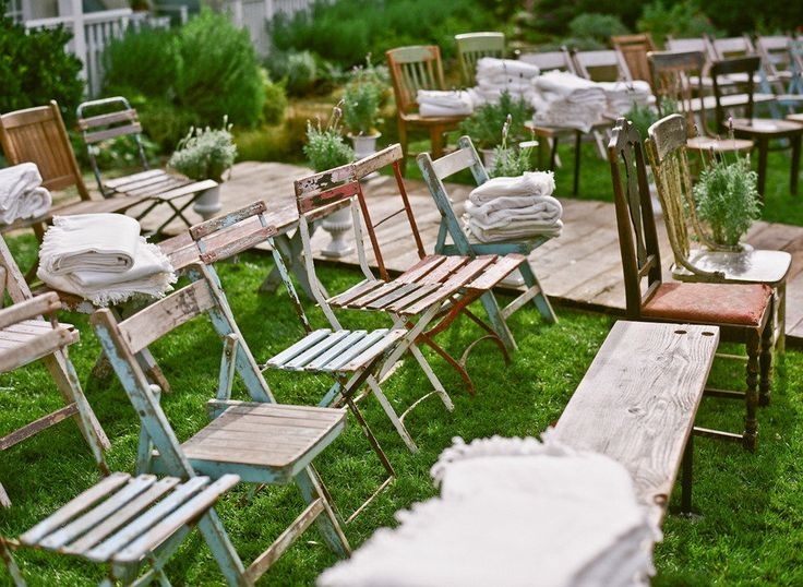 Eclectic backyard ceremony seating - love it!