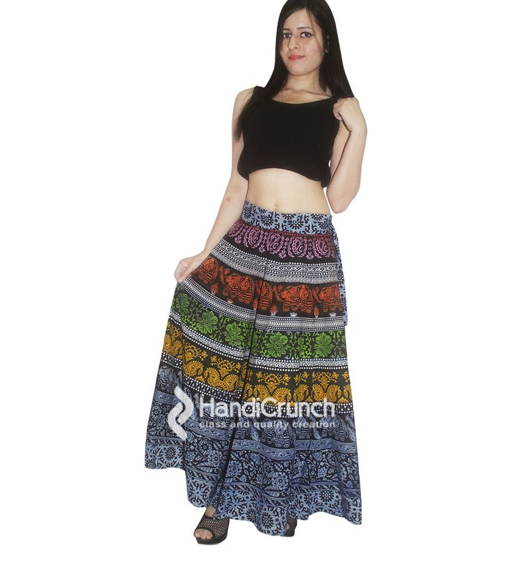 Multicolor women printed rapron skirt