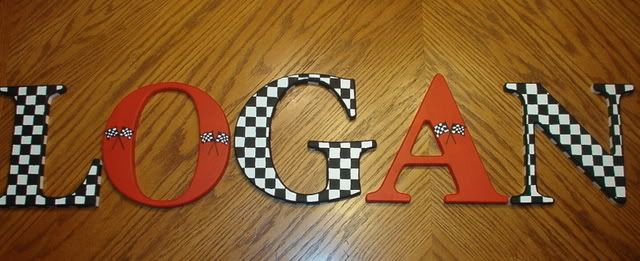 Decorative Nursery Letters: Race Car Theme