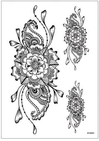 c3cabd825 Boho Mandala Flower Back Tattoo Ideas for Women Black Floral Tribal  Linework Spine Tat - ideas