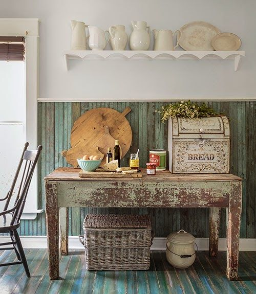 Bette's: Restored Victorian Cottage.  I don't care for most of this, but the floor and the wainscoting is divine.