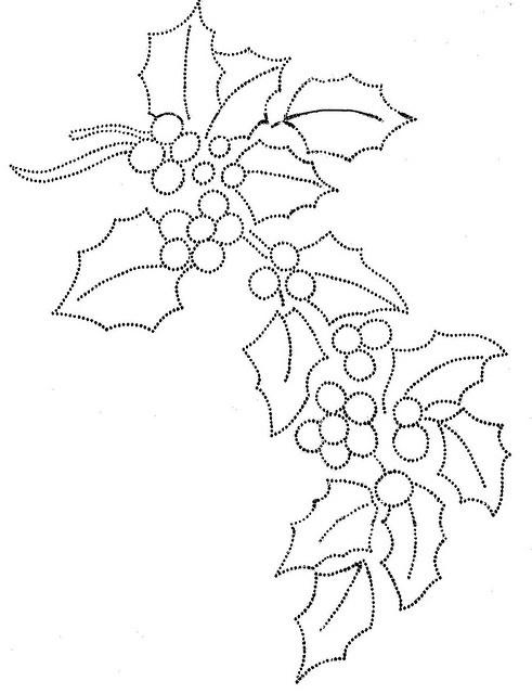 ramo navidad muérdago. Dibujo pirograbado