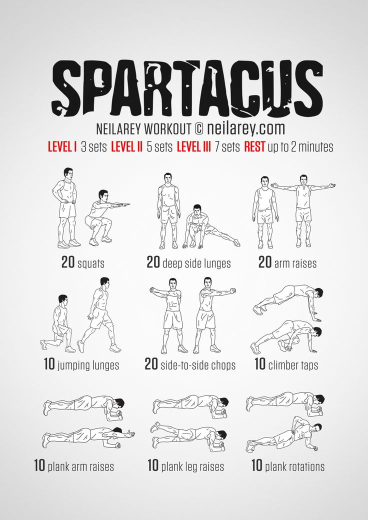 No-equipment Spartacus bodyweight workout for all fitness levels. Print & use.