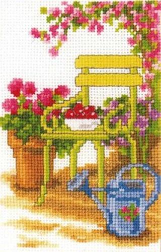 Vervaco Counted #crossstitch GARDEN CHAIR ♥ #new #ebay #sale #spring #garden #flowers #gift #decor #DIY #project #handcraft #handmade #needlework #stitching