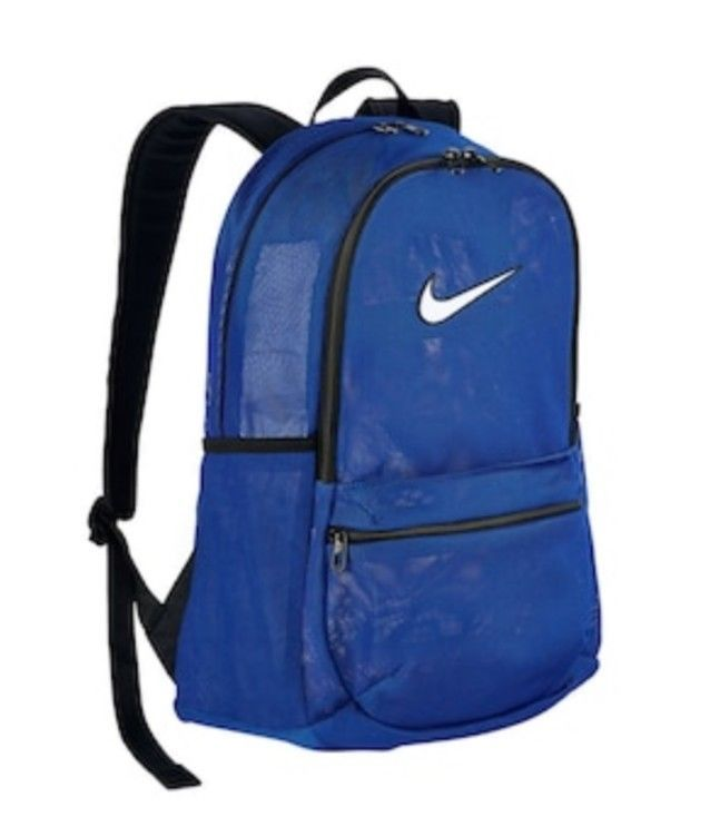 69dc7cd9f303 NIKE BRASILIA MESH BACKPACK TRANSPARENT BA5388 480 BLUE NWT SCHOOL BOOK BAG   NIKE  Backpack