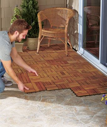 Resurface your patio, pool deck, walkways and more with these wood pavers. Sold as a set of 10, they snap together and interlock to make beautiful and durable flooring. They're easy to remove and rearrange as needed. $32.95/10 sq ft