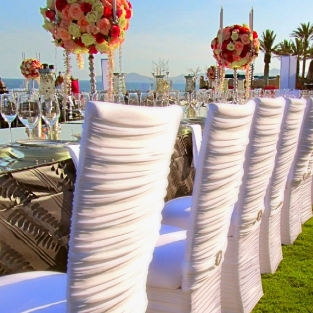 218 best wedding chair decorations images on pinterest wedding what beautiful chairs and use of color great caribbean wedding junglespirit Images