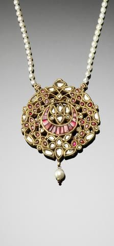 An Indian diamond and ruby crescent Pendant
