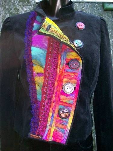 Funky jacket with fancy yarn, some handmade felt, and some offcuts of handwoven boucle fabric and  buttons (layered on top of the original buttons)  to finish it off.