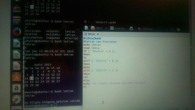 Probando Scripts en Ubuntu. Menú de opciones en pantalla.