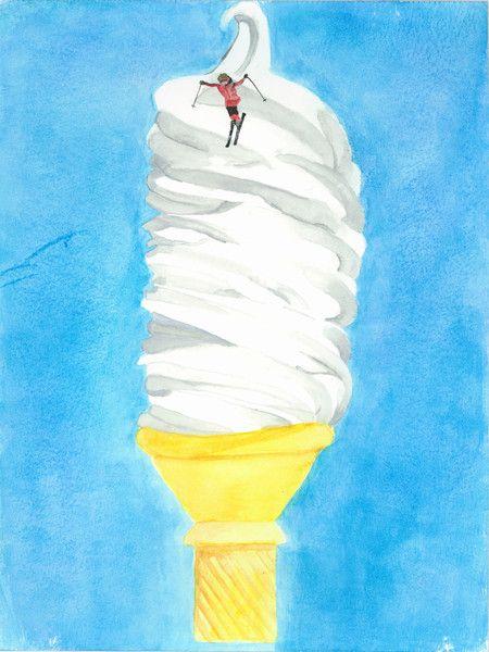 Ice Cream Skiing Watercolor Print