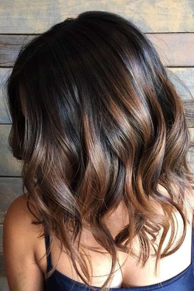 Balayage Highlights On Short Black Hair Brown Hair Balayage Short Ombre Hair Balayage Hair