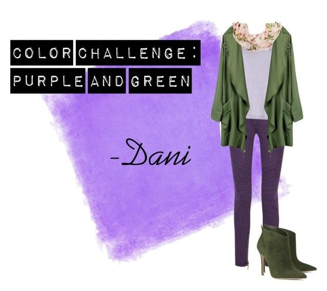 """Color Challenge: Purple and Green"" by danniyellington on Polyvore featuring Balmain, Acne Studios, Gianvito Rossi, purpleandgreen, colorchallenge and winterfashion"