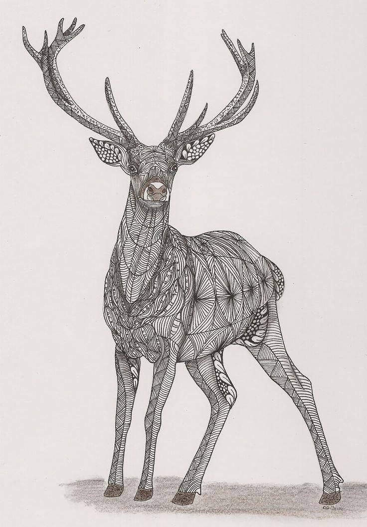 Adri: Hert van ornation creation deer zentangle
