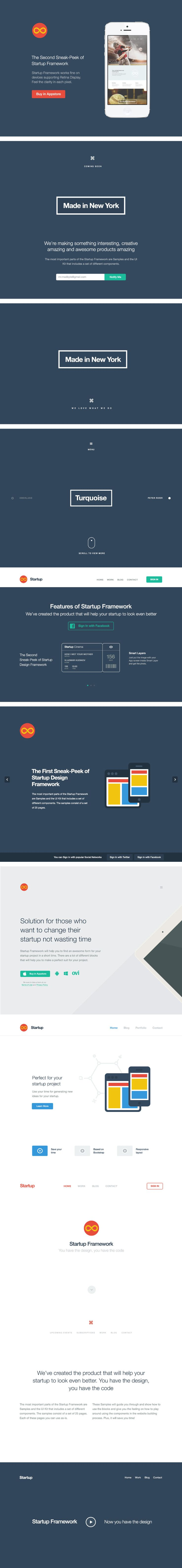 Startup Design Framework is a high quality solution that will help you to make a design of a web site for your startup. View: http://designmodo.com/startup/