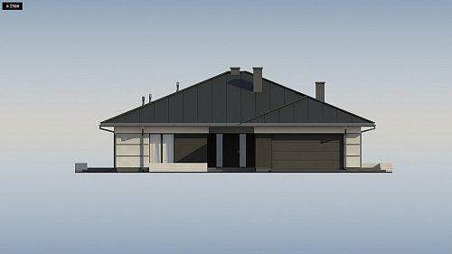 Проект ститьного одноэтажного дома с просторной террасой и с гаражом на два автомобиля S3-186-5 (Z378). Фасад 1. Shop-project