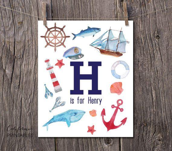 Nautical Theme Nursery Baby Name Printable, CUSTOM NURSERY ART, Nursery Monogram Name Print, Ocean Themed Baby Wall Art, Nautical Art 182 by CAprintables on Etsy