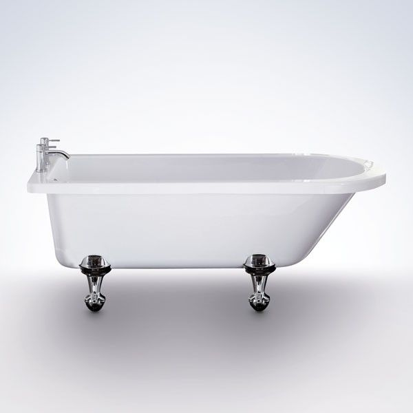 Avior Single Ended Freestanding Bath, priced at £404.95. A single ended traditional roll top bath available with a choice of feet. The bath is available with either metal ball and claw feet, or a choice of Wenge or Oak finished wooden feet. Order now at - http://www.taps.co.uk/avior-single-ended-freestanding-bath.html
