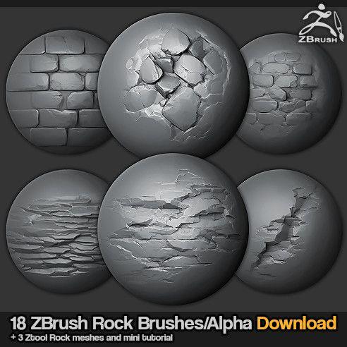18 Zbrush Sculpted Rock Brushes, Jonas Ronnegard on ArtStation at https://www.artstation.com/artwork/AZ3VN