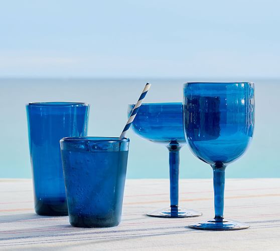 Tulum Acrylic Drinkware, Set of 4 - Indigo Blue   Pottery Barn