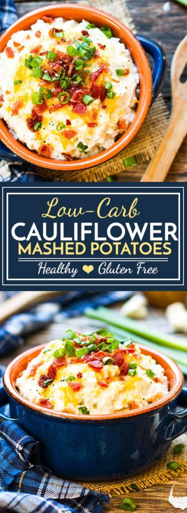 Loaded Cauliflower Mashed Potatoes | Cauliflower mashed potatoes that are loaded with butter, sour cream, cheese, bacon crumbles and green onions. A healthier, low-carb and gluten-free side dish to replace traditional mashed potatoes!
