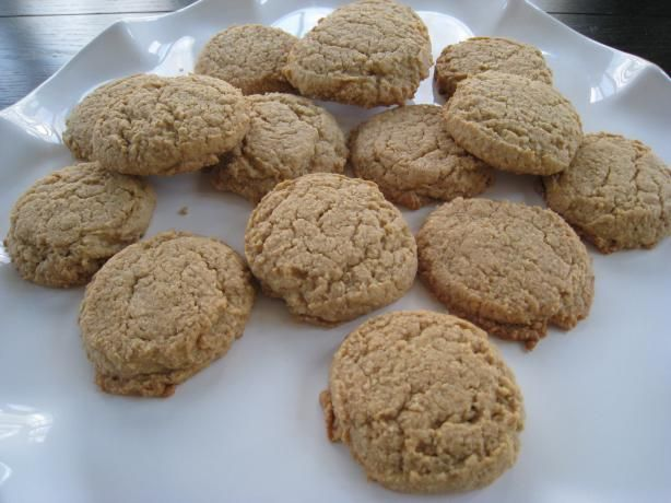 """Peanut Butter Oat Bran Cookies from Food.com: This recipe was on a box of """"Hodgson Mill Oat Bran Cereal"""". What wonderful cookies! Chewy, filling, high fiber...and oat to boot. Lower cholesterol here we come. I also used 1/4 cup applesauce for 1/4 cup margarine to lower fat. They were super easy to mix and are sturdy enough to travel well (I mailed some to an avid fan!). Hope you enjoy."""